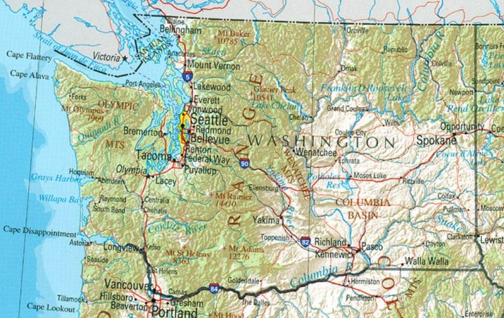 Detailed Road Map Of Washington State