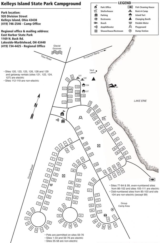 State Park Campground | Kelleys Island throughout Hunting Island State Park Campsite Map