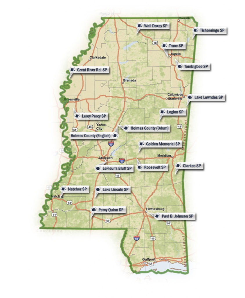 State Park Lakes for Mississippi State Parks Map