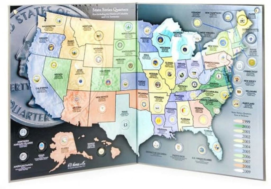 State Series Quarters 1999-2009 Collectors Map (Gray Fold)H. E. inside State Series Quarters Collector Map