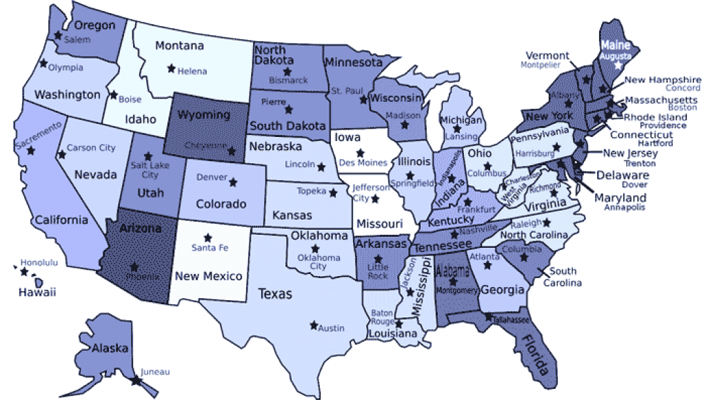 States And Capitals Map For Kids *** intended for Us Map States And Capitals List