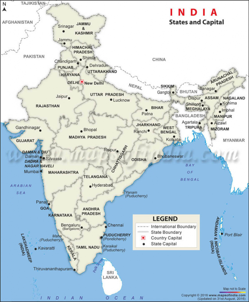 States And Capitals Of India Map, List Of Total 29 States And with regard to India Map With States And Capitals