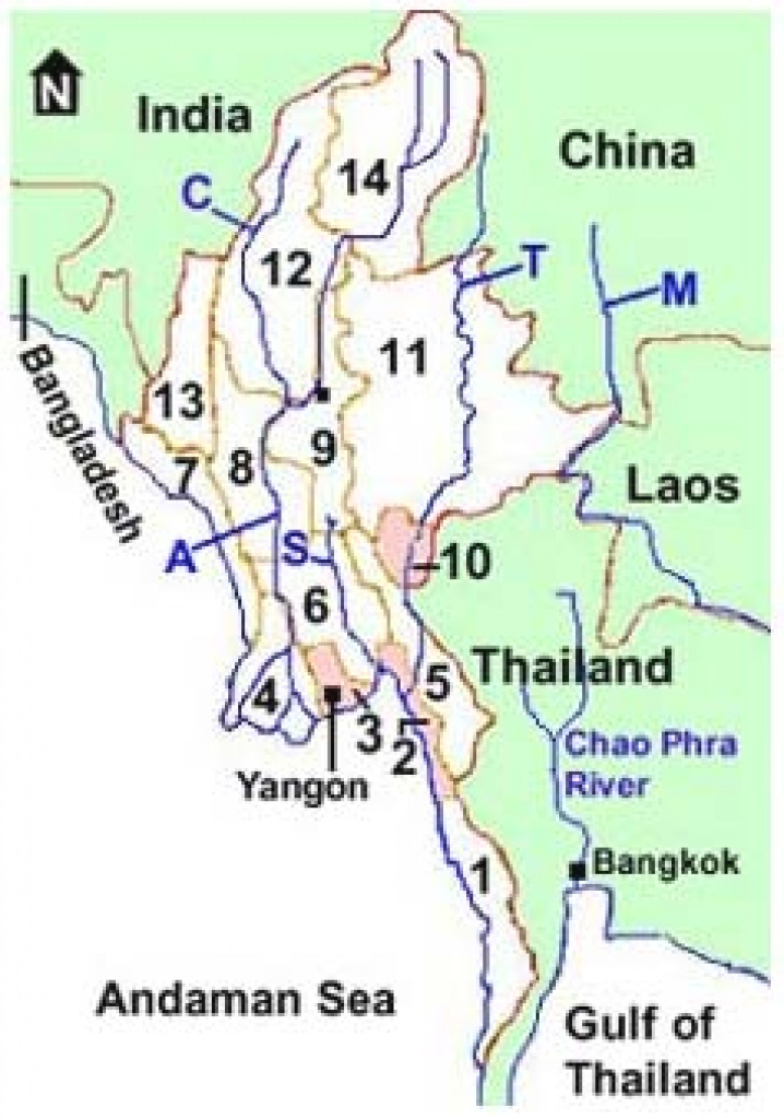 States And Divisions Of Myanmar - Burma pertaining to Map Of Myanmar States And Regions