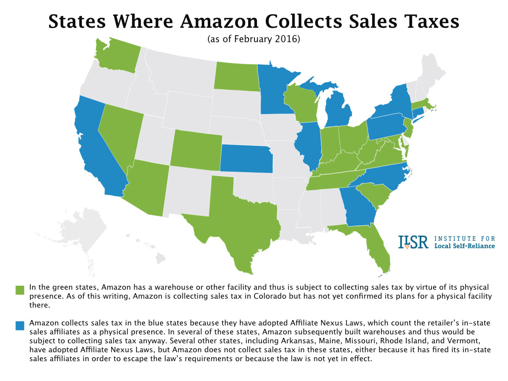 States Where Amazon Collects Sales Tax (Map) - Institute For Local regarding Sales Tax By State Map