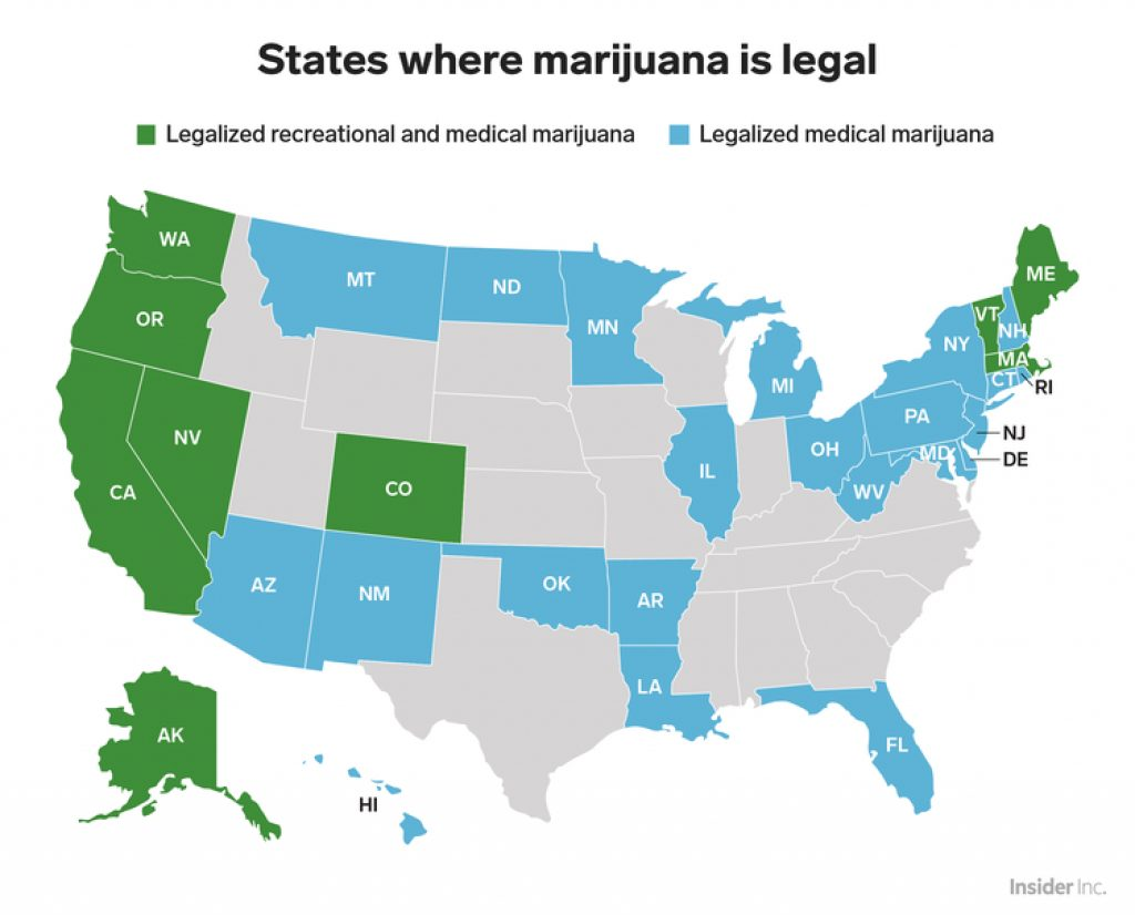States Where Marijuana Is Legal   Business Insider In States Where Weed Is Legal Map 2016