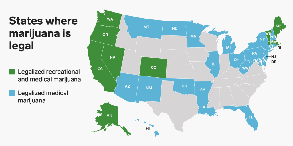 States Where Marijuana Is Legal - Business Insider inside States Where Weed Is Legal Map