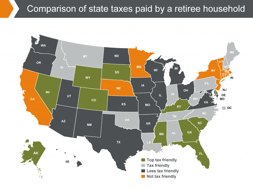 States With The Highest (And Lowest) Taxes For Retirees | Money for Retirement Friendly States Map