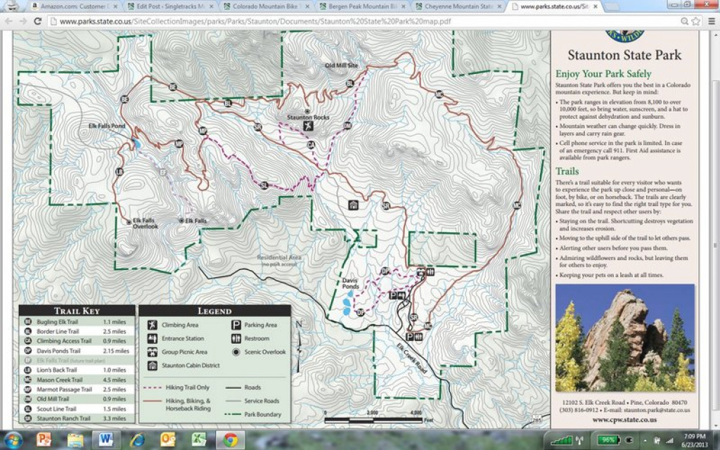 Staunton State Park Map. throughout Colorado State Parks Map