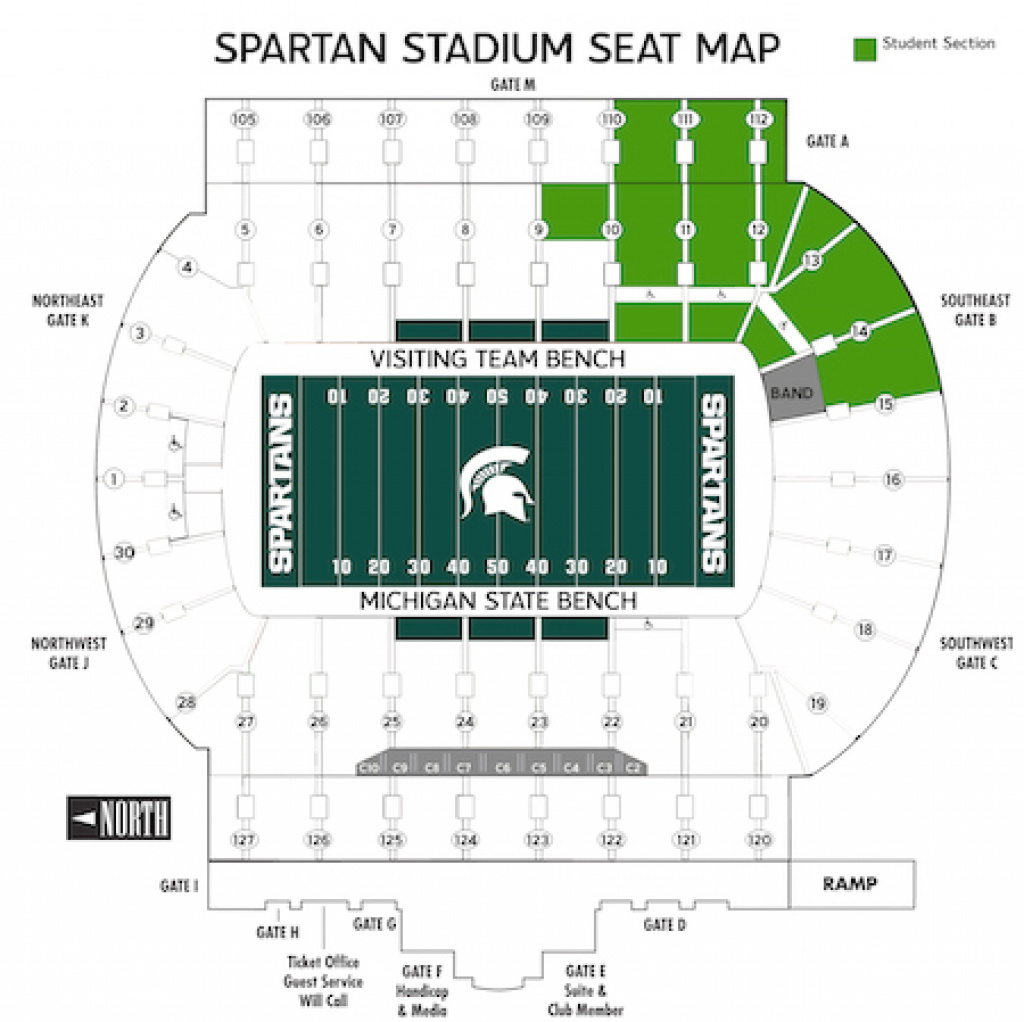 Student Sections - Michigan State University for Michigan State Football Stadium Map