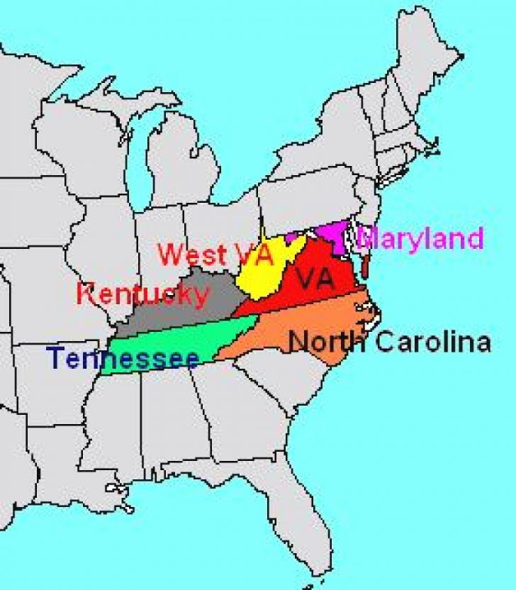Map Of Virginia And Surrounding States