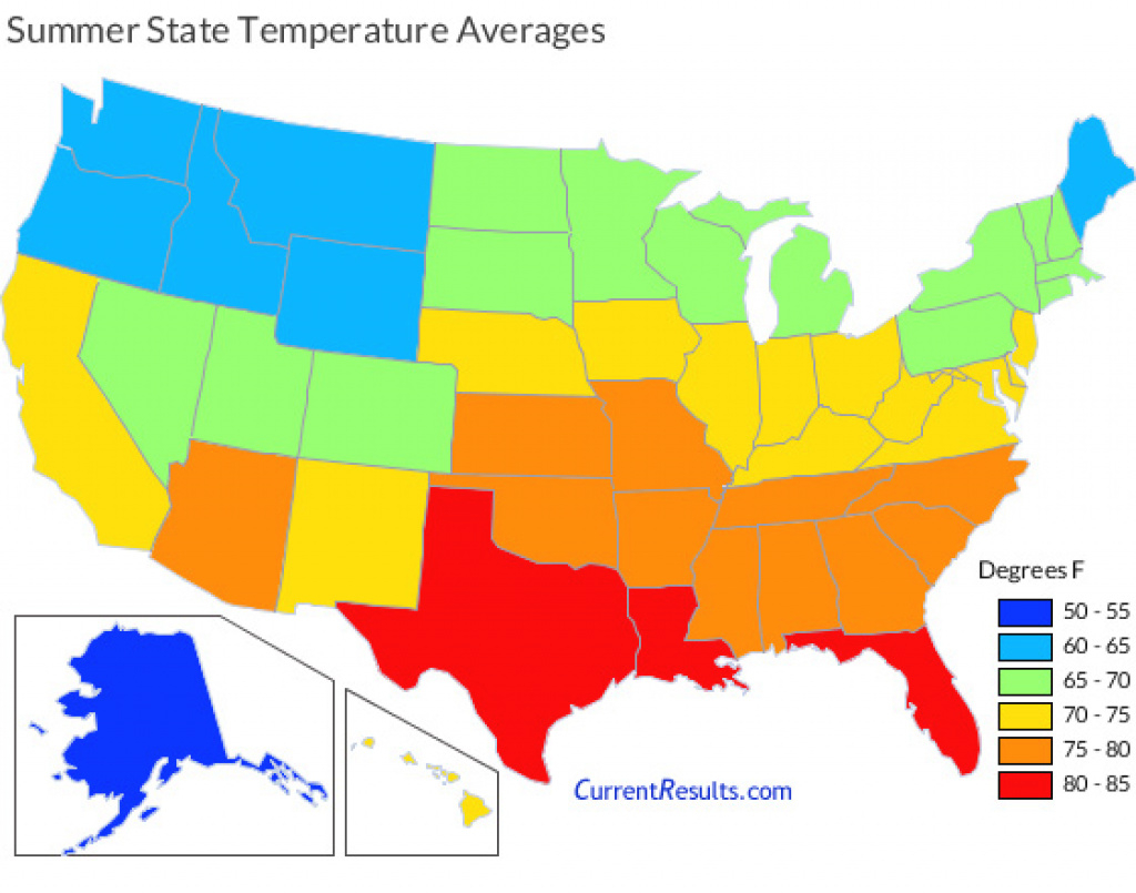 Summer Temperature Averages For Each Usa State - Current Results inside Weather Heat Map United States