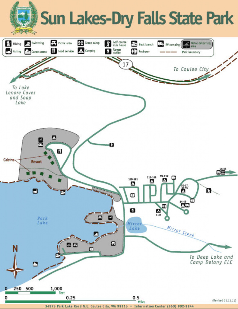 Sun Lakes- Dry Falls State Park - Grand Coulee throughout Sun Lakes State Park Site Map