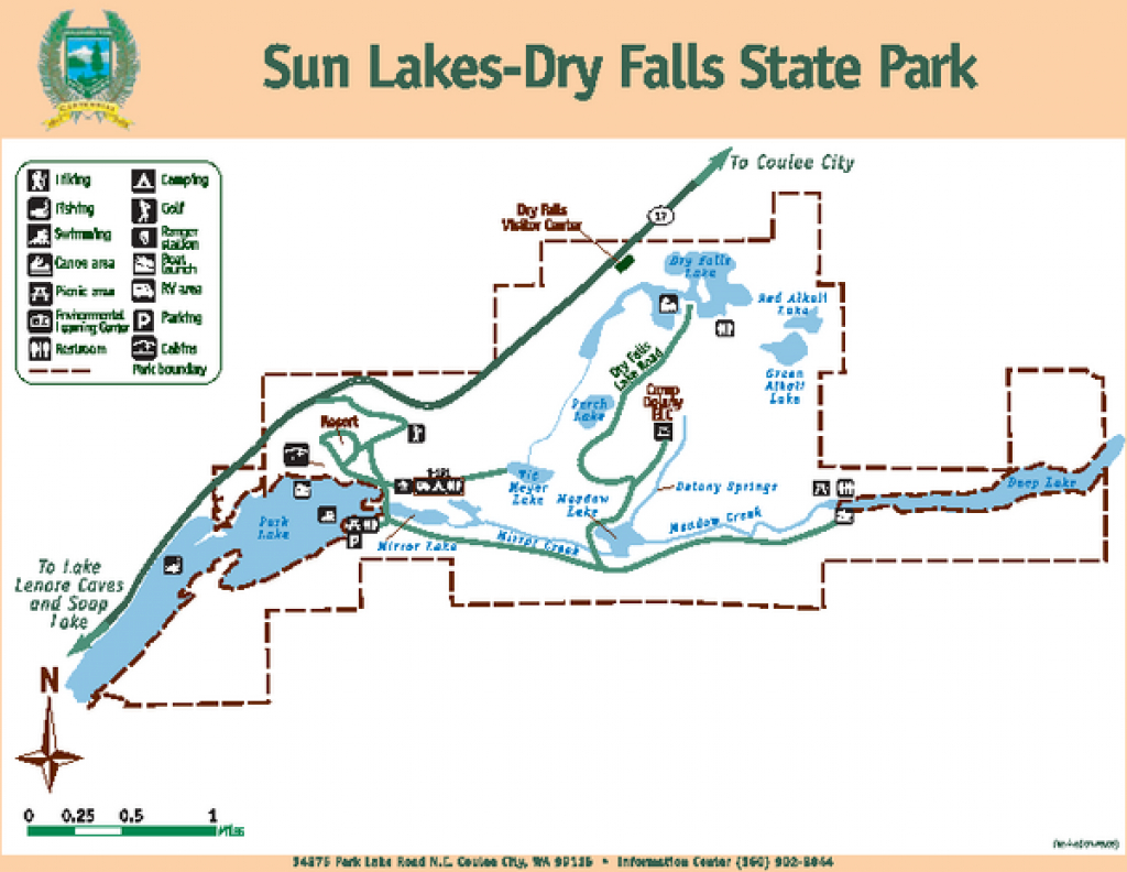 Sun Lakes-Dry Falls State Park Map - 34875 Park Lake Rd Ne Coulee with Sun Lakes State Park Site Map