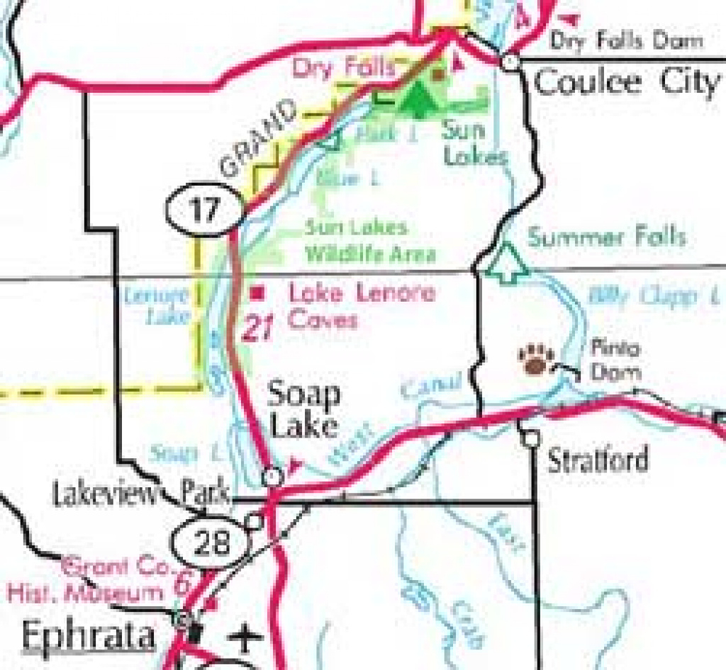 Sun Lakes - Dry Falls Wa in Sun Lakes State Park Site Map