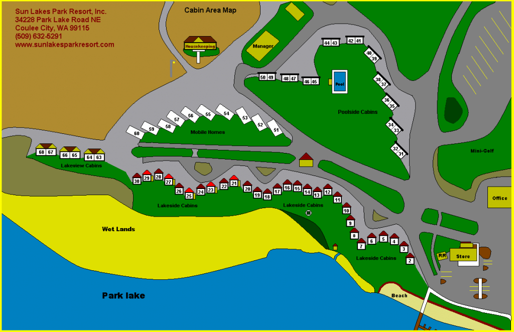 Sun Lakes Park Resort for Sun Lakes State Park Site Map