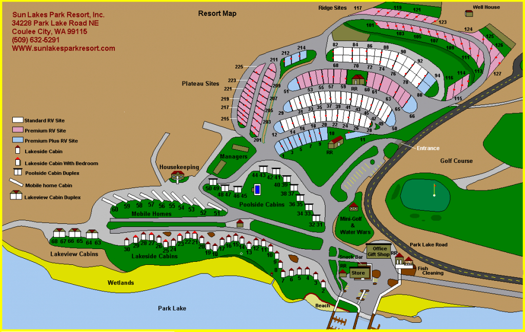 Sun Lakes Park Resort with regard to Sun Lakes State Park Site Map