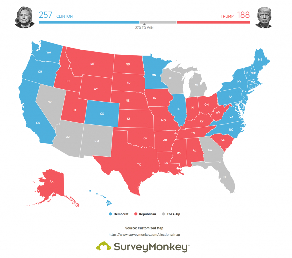 Surveymonkey Shows Hillary Clinton As Likely Victor For 2016 in States Trump Won Map