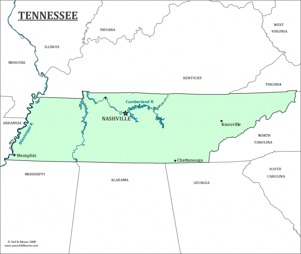 Tennessee State Map - Map Of Tennessee And Information About The State inside State Map Of Tennessee Showing Cities