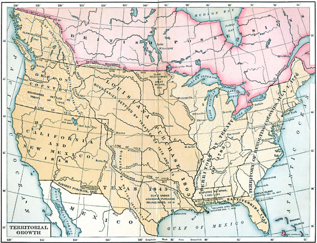 Territorial Growth Of The United States in Growth Of The United States To 1853 Map
