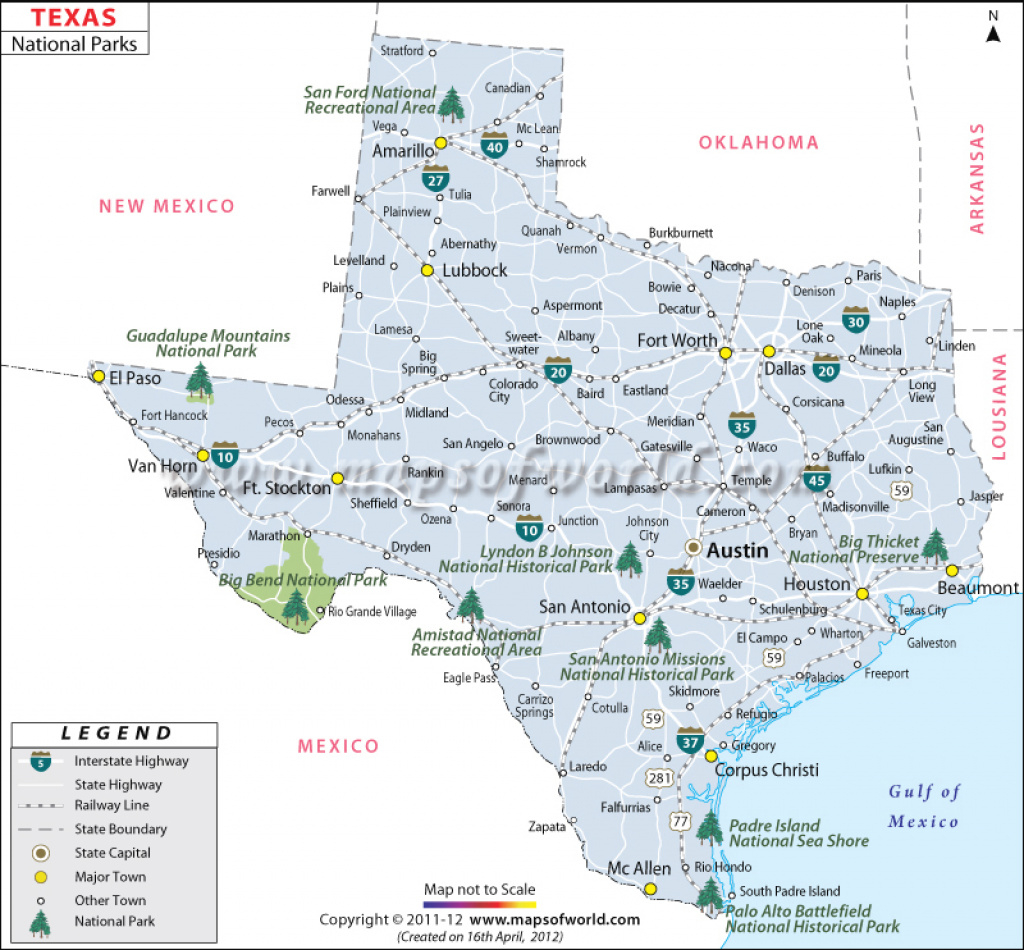 Texas National Parks Map, List Of National Parks In Texas within Texas State Parks Map