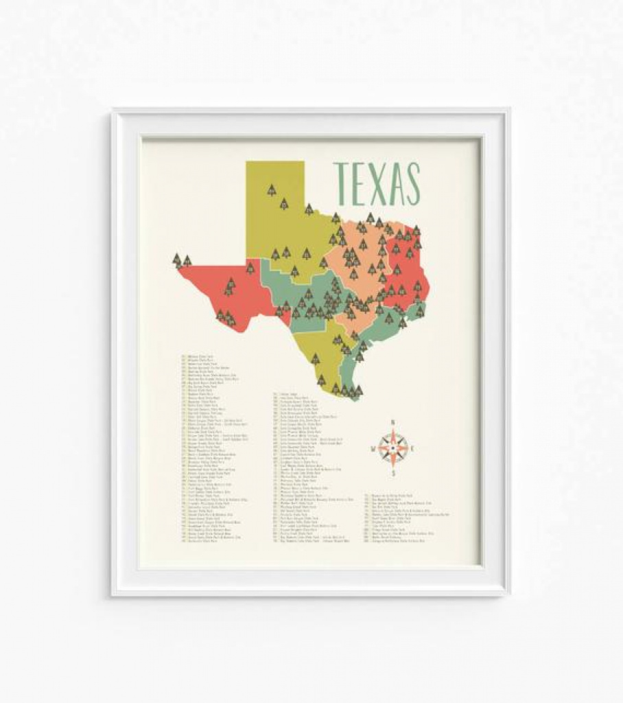 Texas Parks Texas State Park Map Texas Nursery Map 2 | Etsy pertaining to Texas State Parks Map