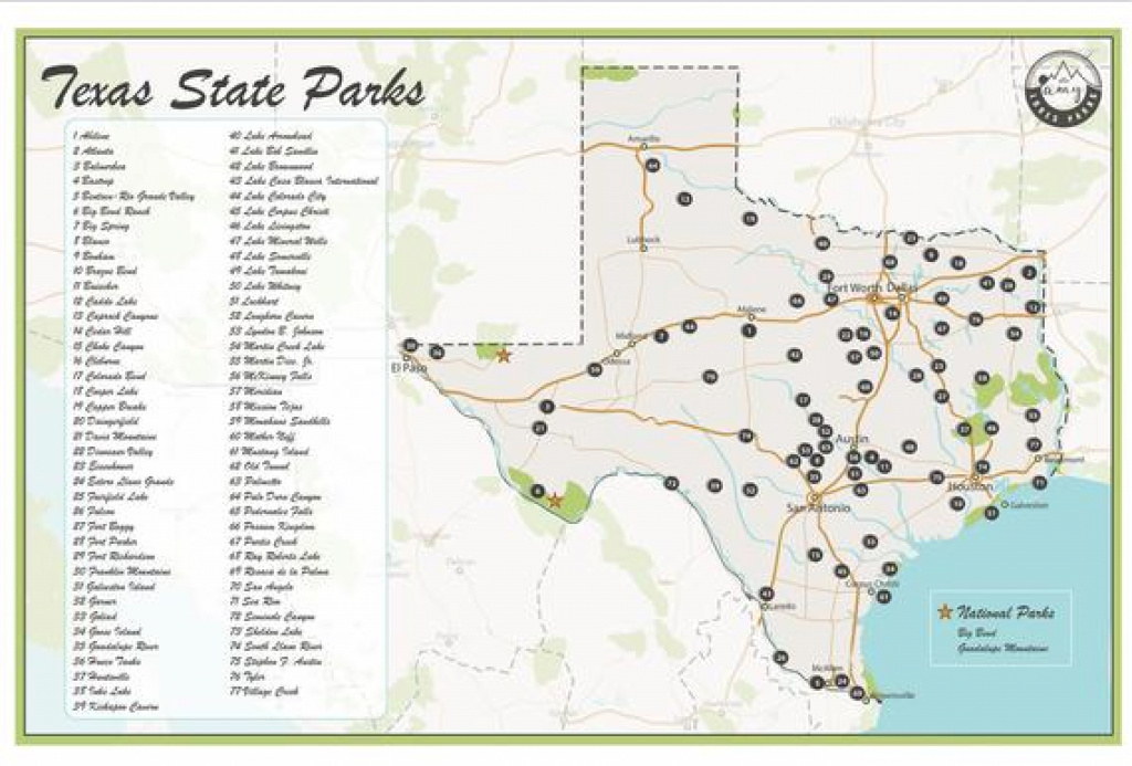Texas State Parks Map | Etsy regarding Texas State Parks Map