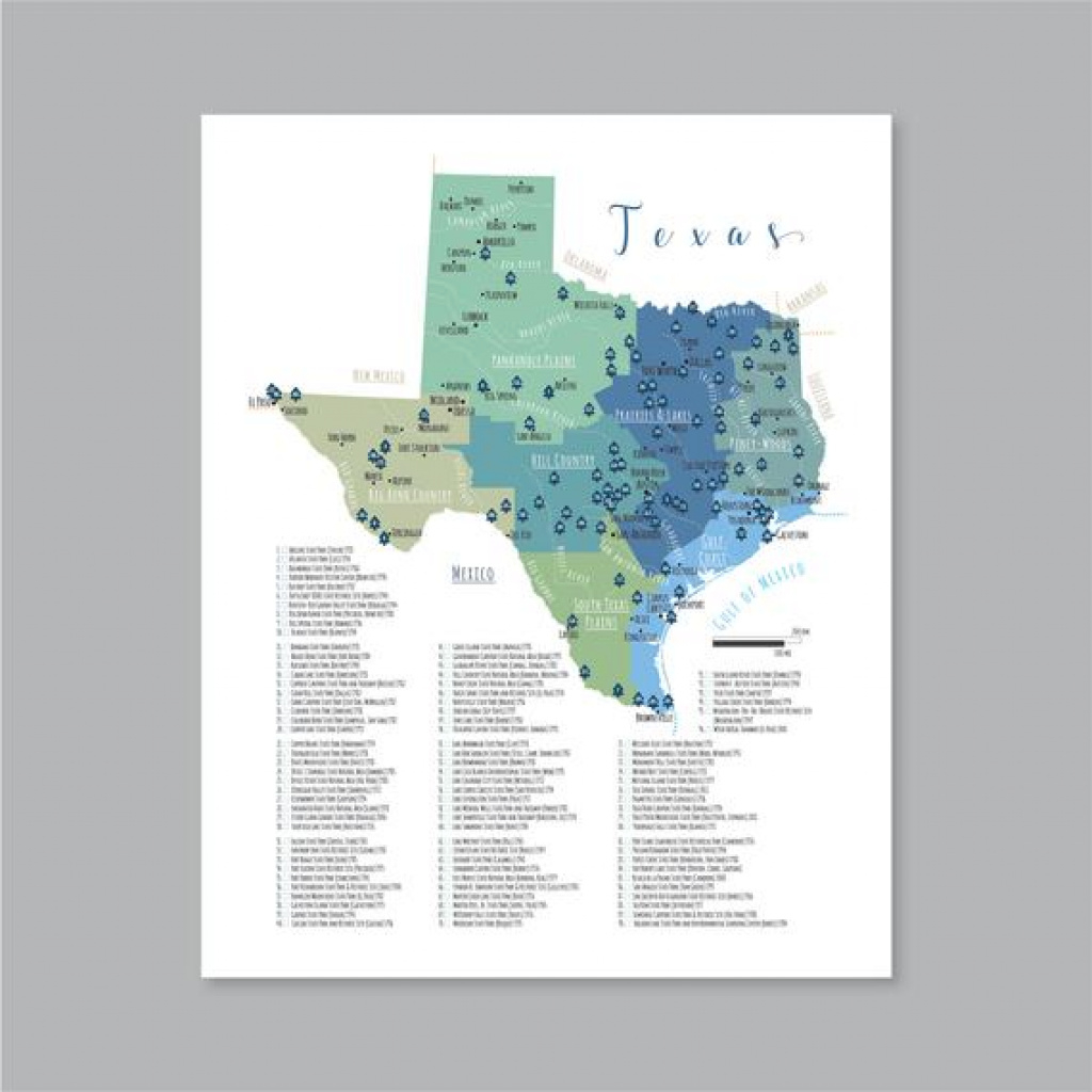 Texas State Parks Map Printable Map Of The State Parks In | Etsy regarding Texas State Parks Map
