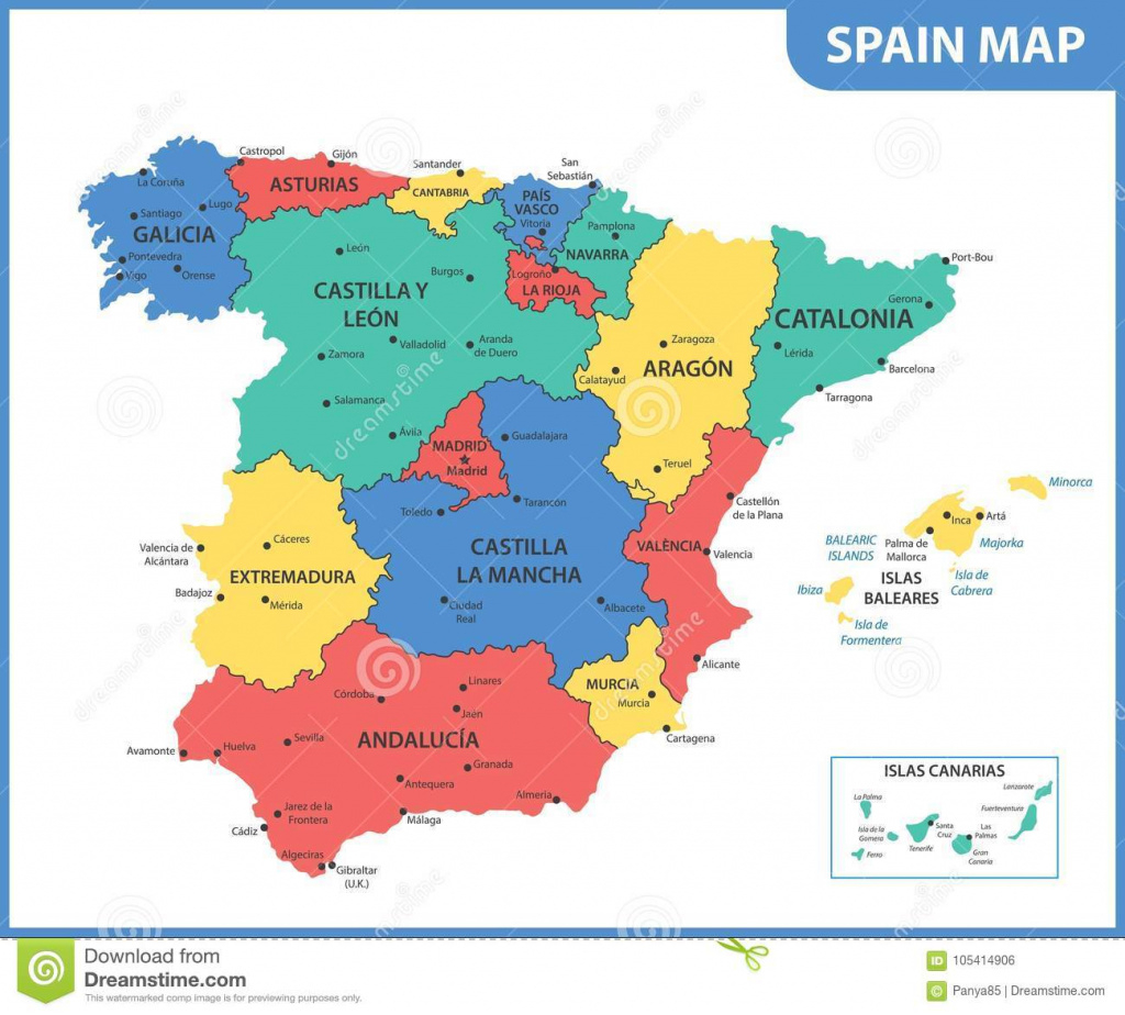 The Detailed Map Of The Spain With Regions Or States And Cities intended for Spain States Map