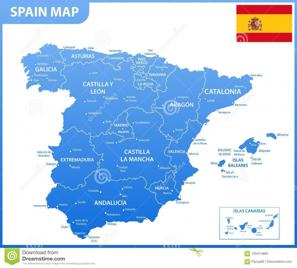 The Detailed Map Of The Spain With Regions Or States And Cities with regard to Spain States Map