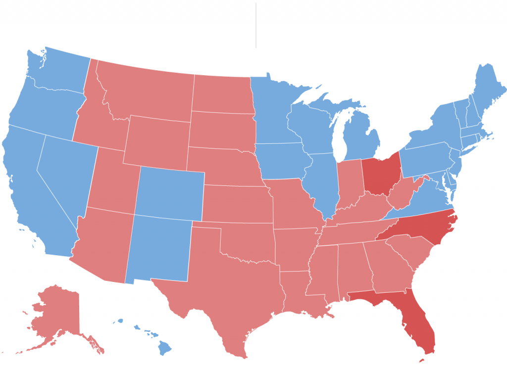 The Electoral Map Looks Challenging For Trump - The New York Times intended for 2016 Electoral Map By State