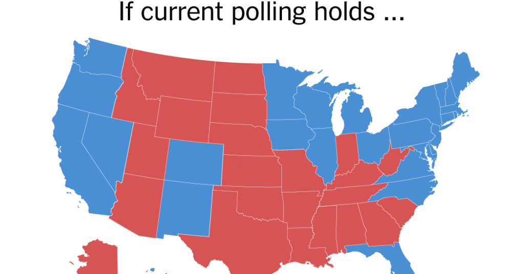 The Electoral Map Looks Challenging For Trump - The New York Times intended for States Hillary Won Map