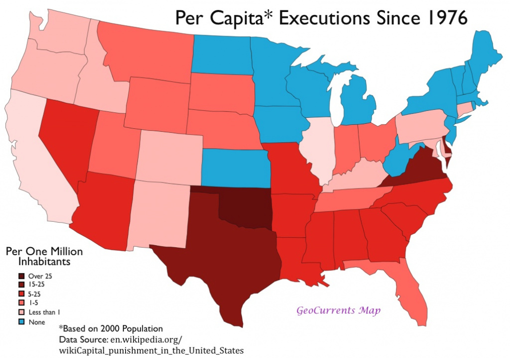 The Geography Of The Death Penalty In The United States | Geocurrents intended for Death Penalty States Map