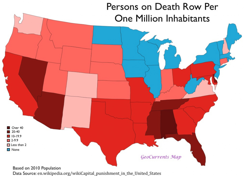 The Geography Of The Death Penalty In The United States | Geocurrents within Death Penalty States Map