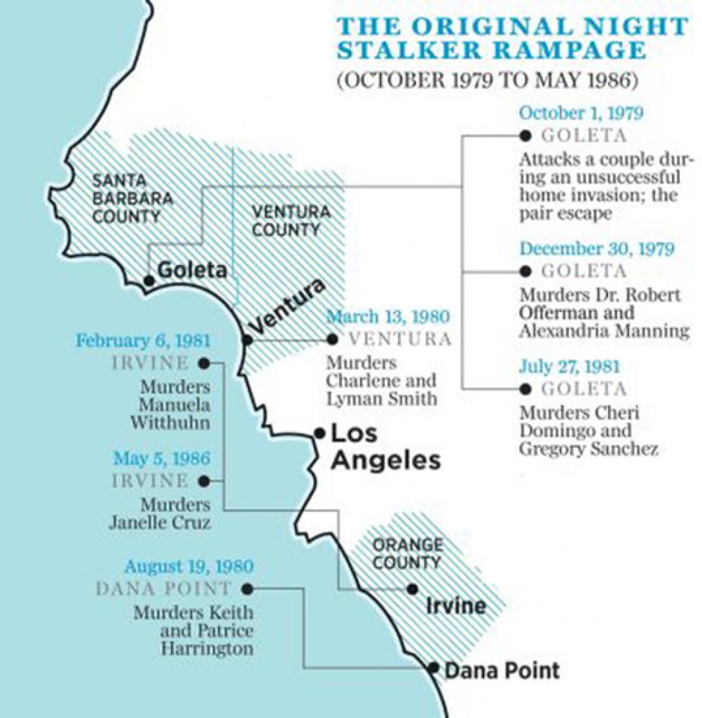The Golden State Killer (Aka East Area Rapist Or Original Night intended for Golden State Killer Map