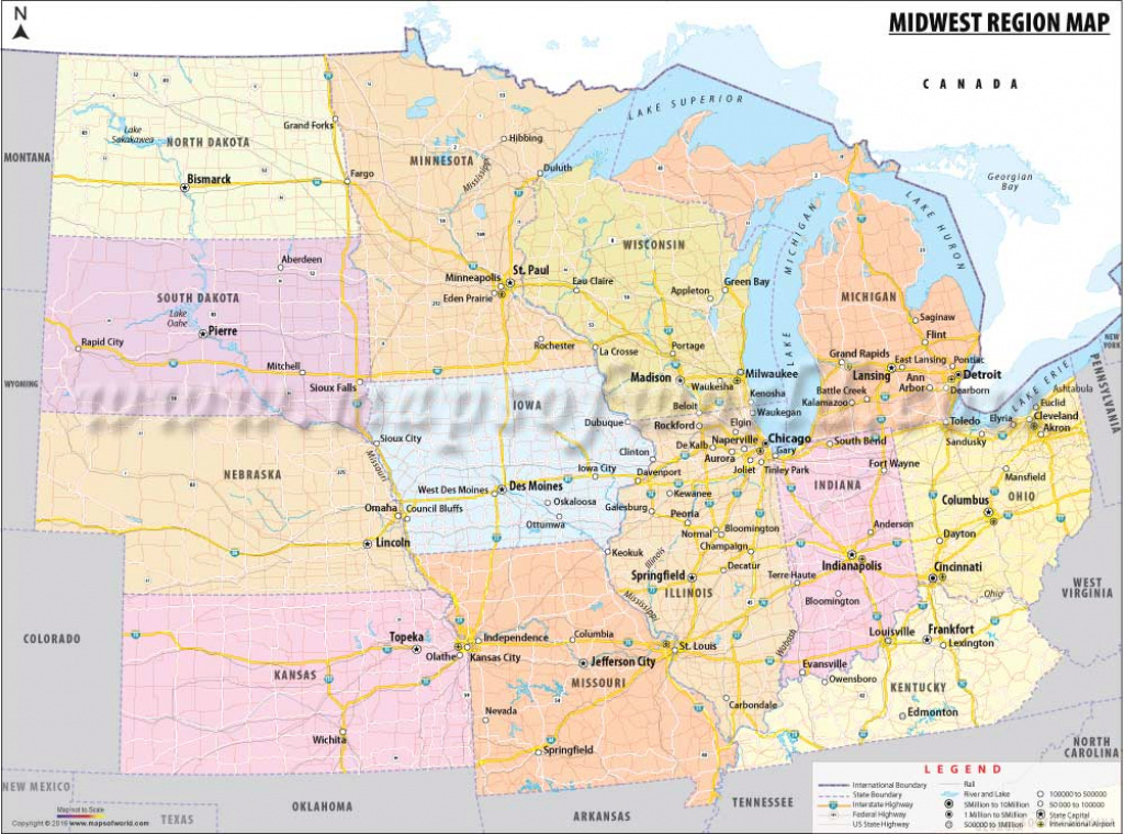 The Midwest Region Map, Map Of Midwestern United States with Map Of Midwest States With Cities