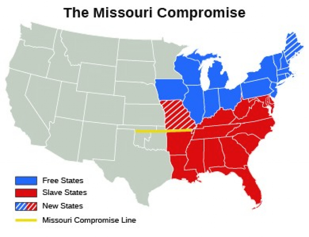 The Missouri Crisis | Us History I (Os Collection) within Slave States And Free States Map