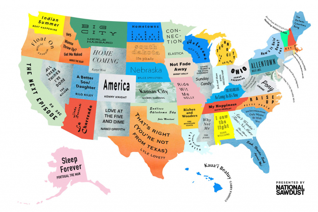 The Musical Map Of The United States throughout Us Map All 50 States