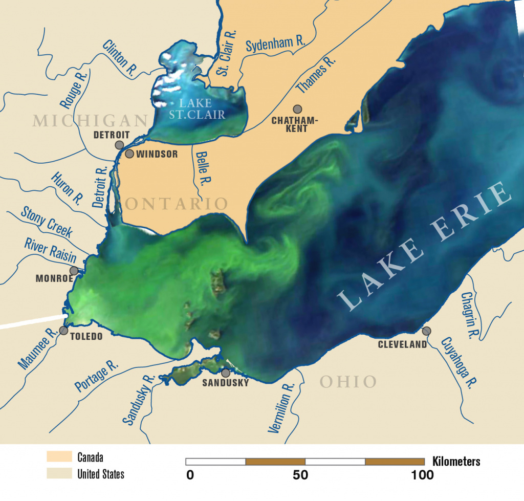 The New Normal? Record-Breaking 2011 Lake Erie Algae Bloom May Be inside Map Lake Erie Surrounding States