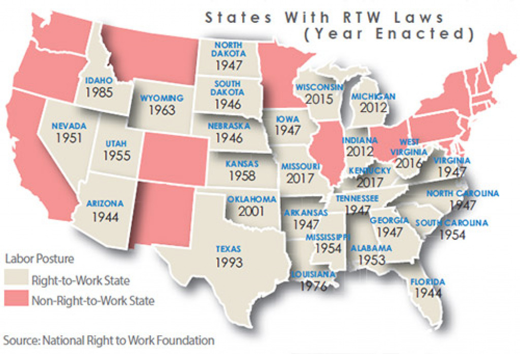 The New World Of Right To Work - Area Development throughout Map Of Right To Work States