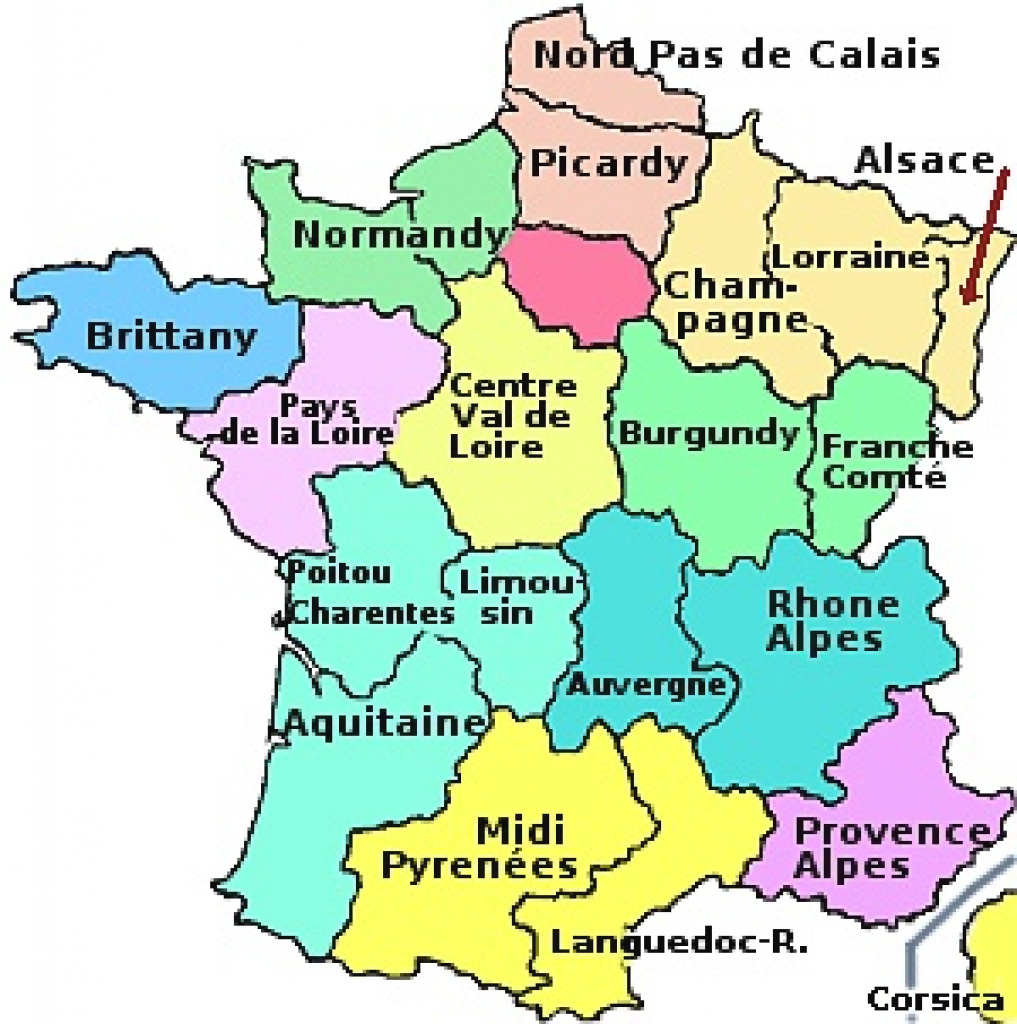 The Regions Of France throughout France States Map