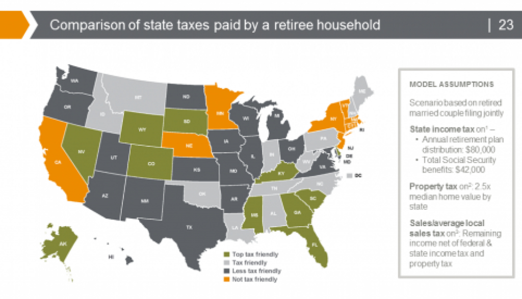 The Top 10 Tax Friendly States To Retire In - Republic Wealth Advisors in Tax Friendly States Map