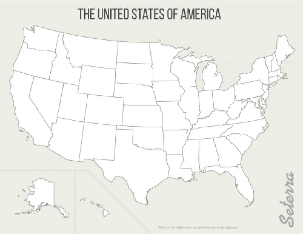 The U.s.: 50 States Printables - Map Quiz Game intended for Empty 50 States Map