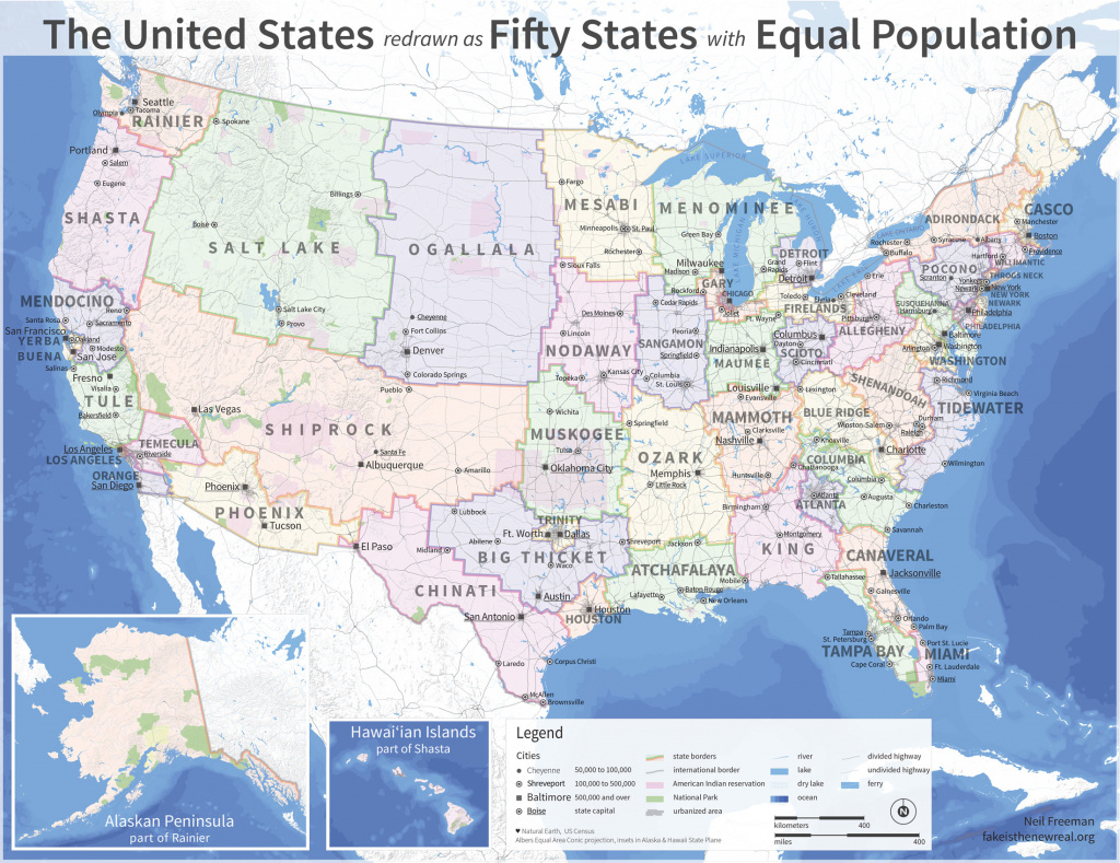 The U.s. Map Redrawn As 50 States With Equal Population | Mental Floss with Us Map All 50 States