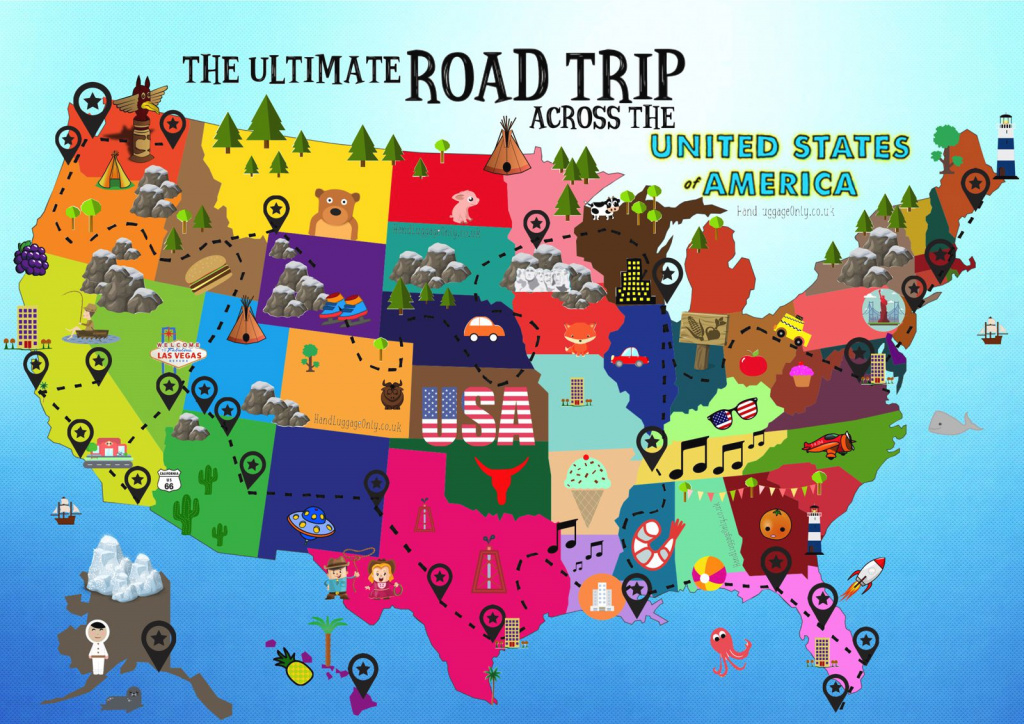 The Ultimate Road Trip Map Of Things To Do In The Usa - Hand Luggage with United States Road Trip Map