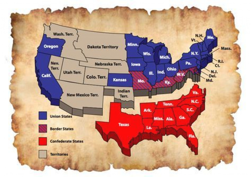 The United States During The Civil War | Union, Confederate And in Civil War Border States Map