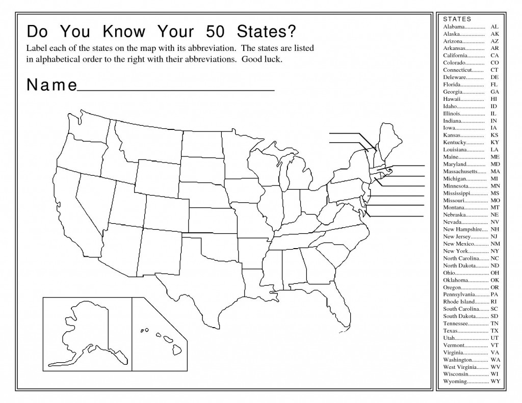The United States Map With Abbreviations And Their Names with Name The States Map Test