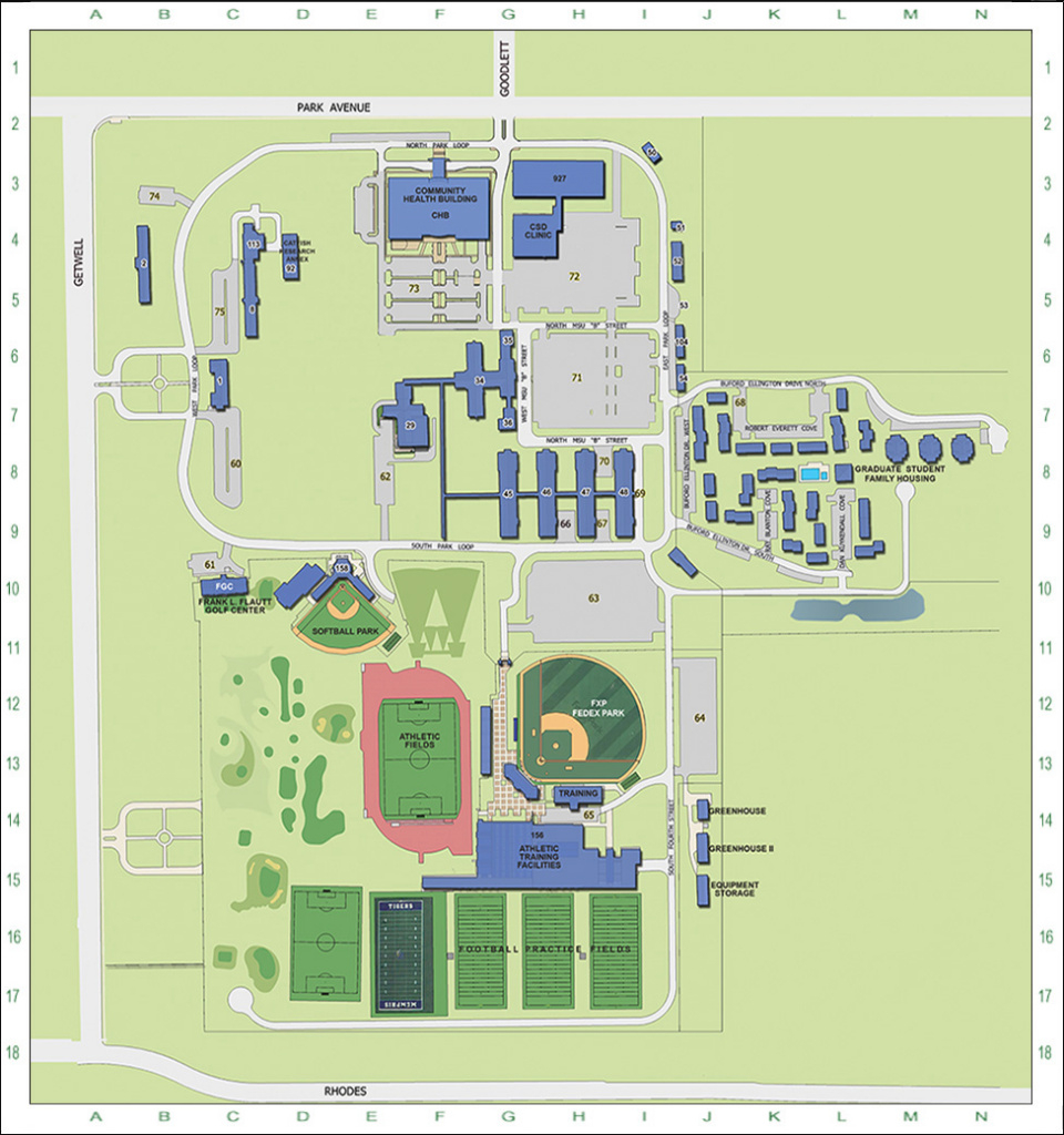 The University Of Memphis Main Campus Map - Campus Maps - The throughout Delaware State University Campus Map