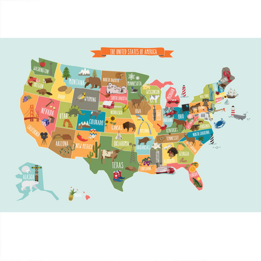 The Usa Map, Poster Wall Sticker - Contemporary - Kids Wall Decor throughout United States Map For Kids