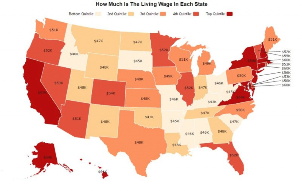 This Map Shows How Much You Need To Support A Small Family In Each State inside Cost Of Living By State Map
