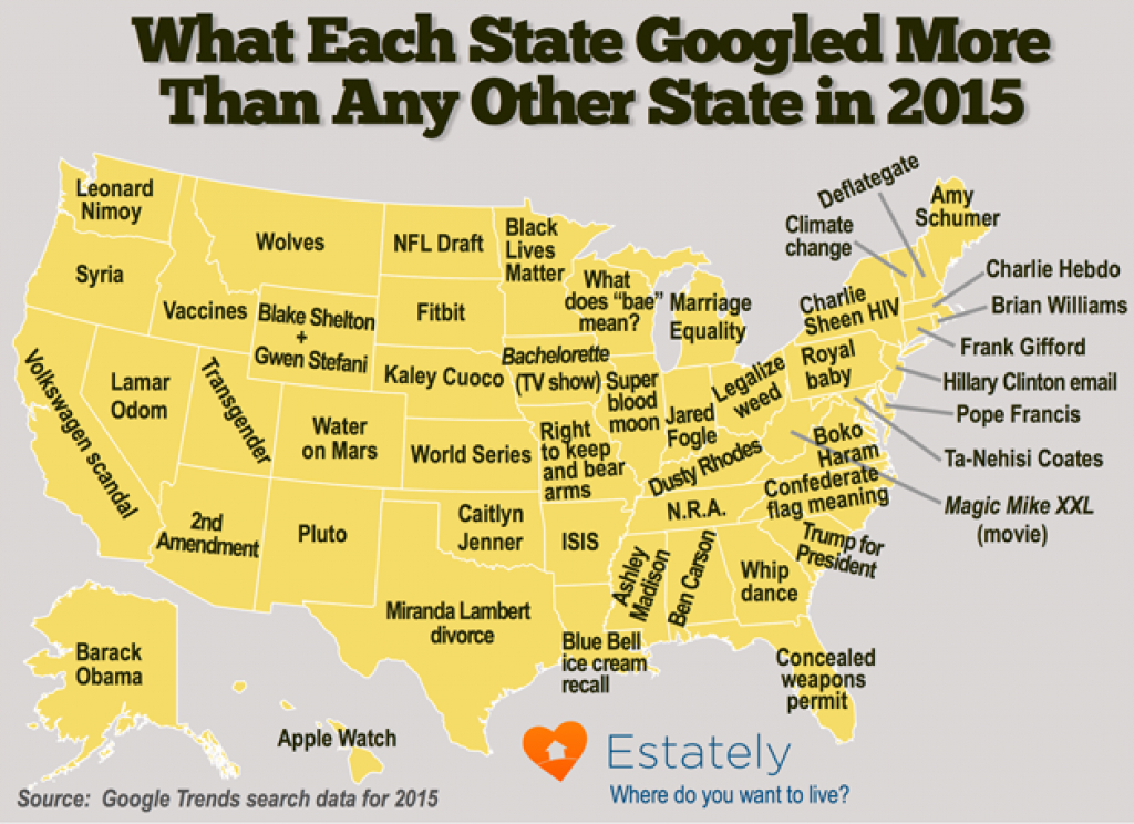 This Map Shows What Each State Googled More Than Any Other In 2015 within Map Of Who Won Each State